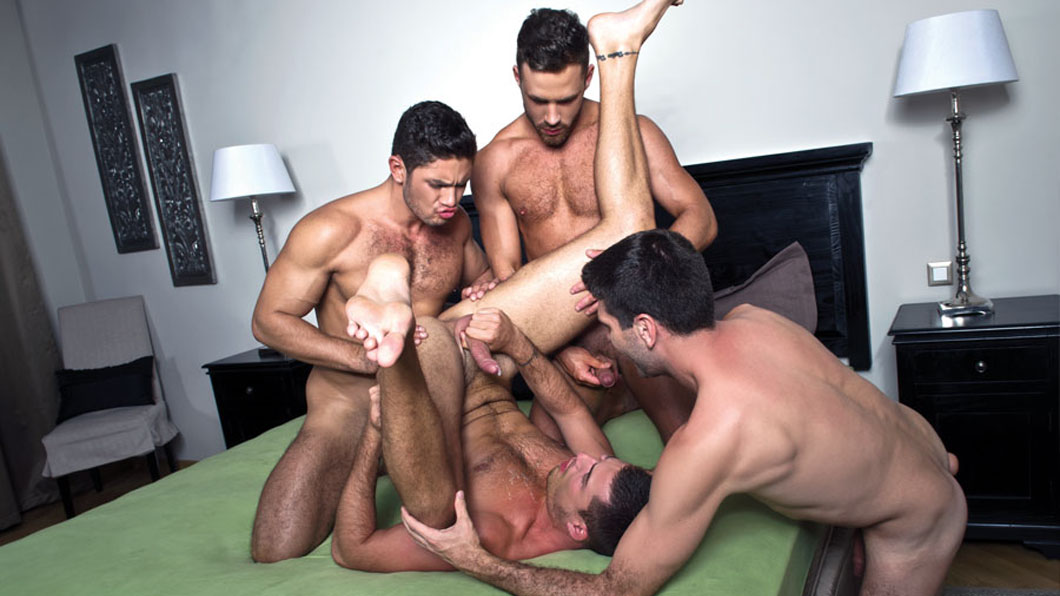 A hot bareback foursome